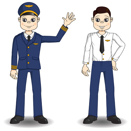airline uniform: pilot character in airline uniform and without it.