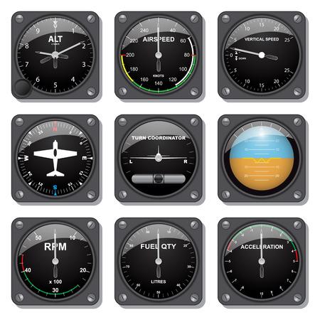 Set of basic aircraft gauges Stock Vector - 32382034