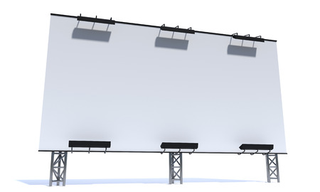 3d billboard mockup on white background. Front, side view.