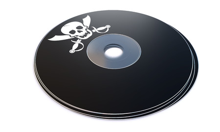 copyrights: Compact disc with pirated software on white background. Software piracy concept.
