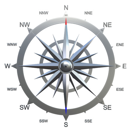 azimuth: 3D render of rose of winds showing different possible wind directions. May be used in aviation, marine or for weather forecasting purposes.