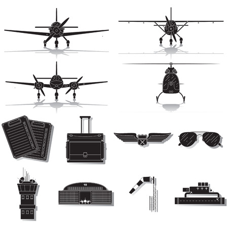 Set of general aviation icons isolated on white background