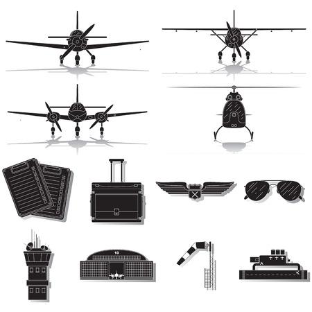 Set of general aviation icons isolated on white background Illustration