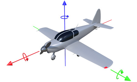 yaw: 3d render of possible aircraft rotation axis. Image isolated on white. Stock Photo