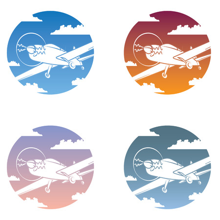 noon: Icon set containing a general aviation aircraft in different sky conditions.