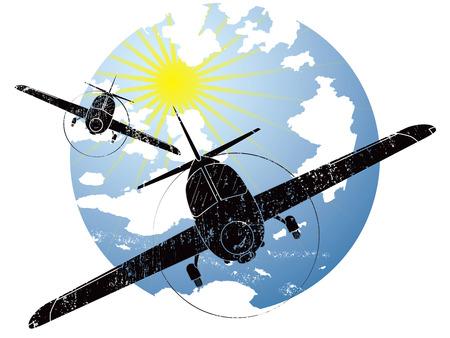 정오: Grunge style icon containing two general aviation airplanes at sunny day