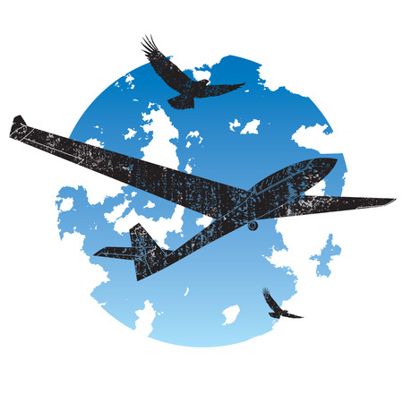 midday: Grunge vector icon showing sailplane and birds Illustration