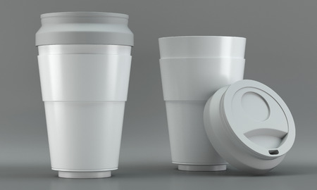 3d render of a white coffee cup mockups on bright background