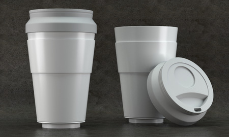 3d render of a white coffee cup mockups on concrete background