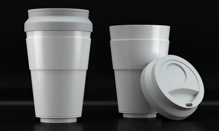 3d render of a white coffee cup mockups on dark background Stock Photo