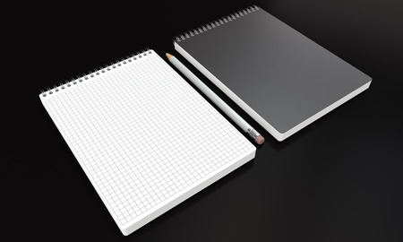 3d render of a notebooks with white pencil on dark background. Perspective view. photo