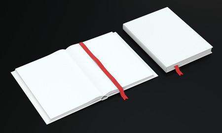 marca libros: 3d rinden de abierto y cerrado libro o calendario en el fondo oscuro. Vista de perspectiva. Foto de archivo