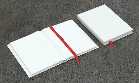 marca libros: 3d rinden de abierto y cerrado libro o calendario en el fondo brillante. Vista de perspectiva. Foto de archivo