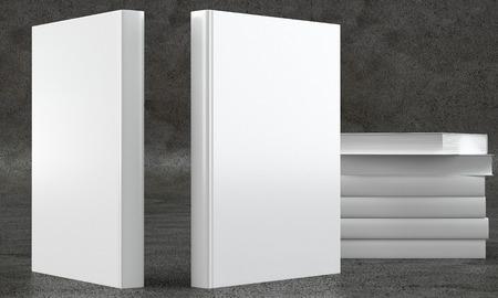 marca libros: 3d rinden de dos lados de los libros en el fondo de hormigón con pila de libros atrás. Vista frontal.