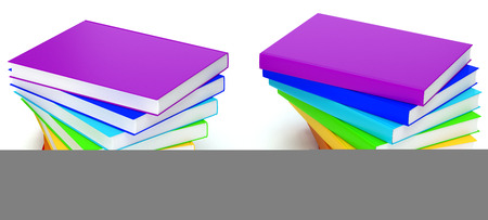 marca libros: 3d render of stack of books in colors of rainbow on white background Foto de archivo