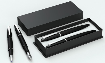 pen: 3d render writing set in a stylish box. Ball pen and ink pen on a bright background. Perspective view.