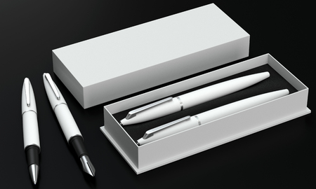 ball pen: 3d render writing set in a stylish box. Ball pen and ink pen on a black background. Perspective view.