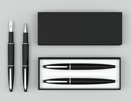 3d render writing set with a stylish box. Ball pen and ink pen on a bright background. Top view.