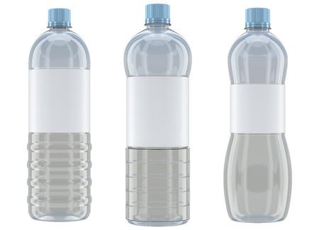 botella de plastico: Diferentes maquetas de botellas de plástico transparente en forma aislada sobre fondo blanco Foto de archivo