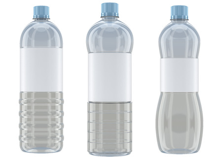 water bottle: Different shaped transparent plastic bottle mockups isolated on white background