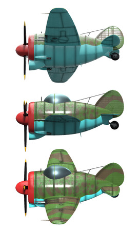 aircraft engine: 3D model of an stylized cartoon oldschool single engine fighter aircraft. Side view. Isolated on white.