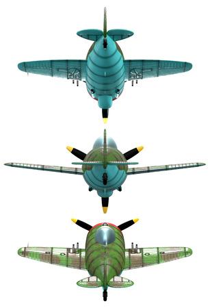 oldschool: 3D model of an stylized cartoon oldschool single engine fighter aircraft. Back view. Isolated on white. Stock Photo