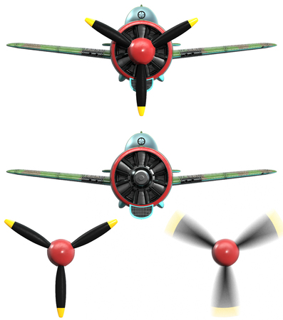 included: 3D model of an stylized cartoon oldschool single engine fighter aircraft. Front view. Isolated on white. Blured propeller included. Stock Photo