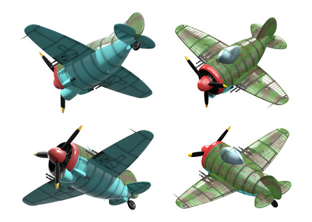 aircraft engine: 3D model of an stylized cartoon oldschool single engine fighter aircraft. Perspective view. Isolated on white.