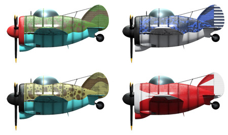 schemes: 3D model of an stylized cartoon oldschool single engine fighter aircraft in different paint schemes. Side view. Isolated on white.