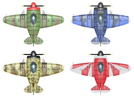 schemes: 3D model of an stylized cartoon oldschool single engine fighter aircraft in different paint schemes. Top view. Isolated on white.