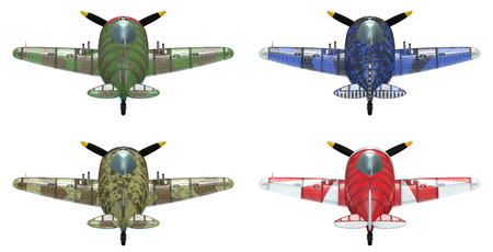 schemes: 3D model of an stylized cartoon oldschool single engine fighter aircraft in different paint schemes. Back view. Isolated on white.