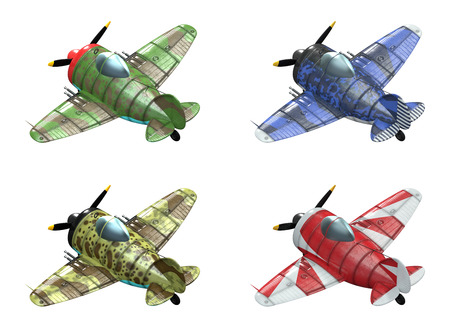 schemes: 3D model of an stylized cartoon oldschool single engine fighter aircraft in different paint schemes. Perspective view. Isolated on white.