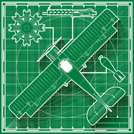 top gun: Vector illustration of a vintage world war one biplane fighter blueprint.  Top view.