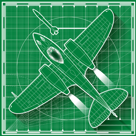 Vector illustration of a vintage double engine jet fighter blueprint.  Top view.