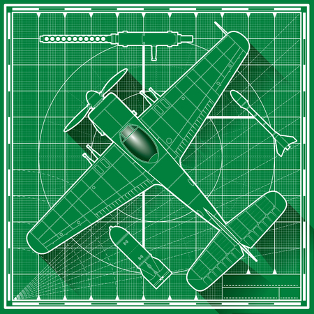 top of the world: Vector illustration of a world war fighter plane blueprint. Top view.