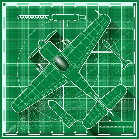 top gun: Vector illustration of a world war fighter plane blueprint. Top view.
