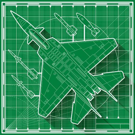 afterburner: Vector illustration of a modern double engine jet fighter blueprint.  Top view. Illustration
