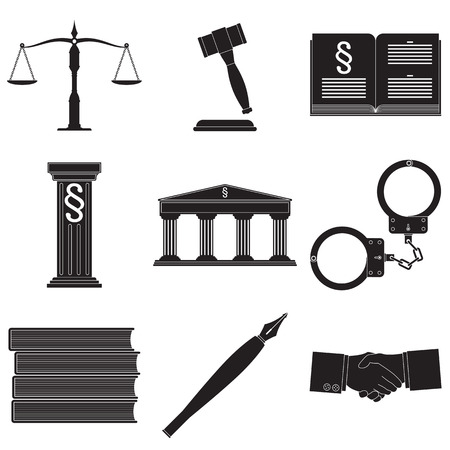 vector set of symbols describing law theme isolated on white background