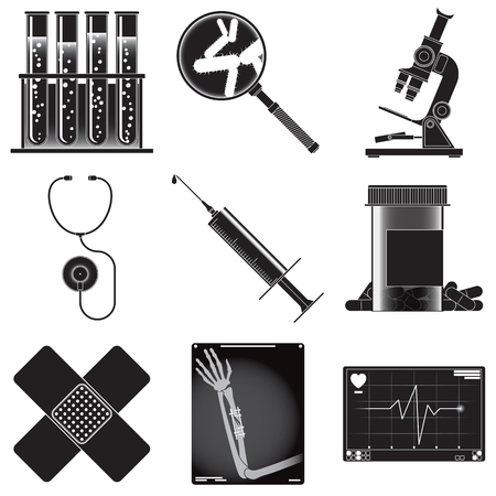 radiograph: vector set of symbols describing medicine theme isolated on white background