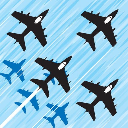 Group of fighter jets in a fast squadron flight. Vector image.