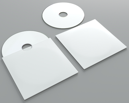 3d render of a cd dvd compact disc mockup on grey background. Perspective view.