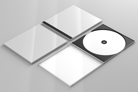 3d render of a cd dvd compact disc plastic box mockup on grey background. Perspective view.