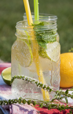 Cold refreshing drink in glass jar with slices of lemons and limes. Decorated with fresh mint herbs and drinking straw on wooden background.