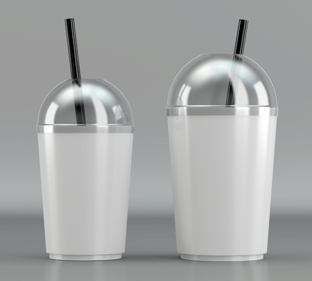 3d render of a white plastic shake cup with drinking straw and transparent lid on a grey background Stock Photo