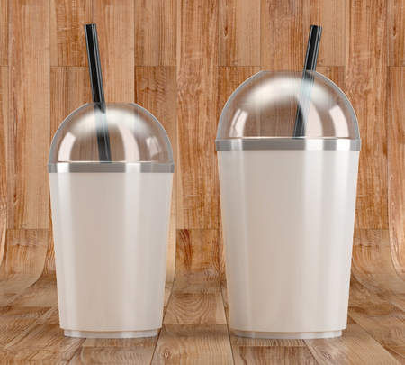 3d render of a white plastic shake cup with drinking straw and transparent lid on a wooden background
