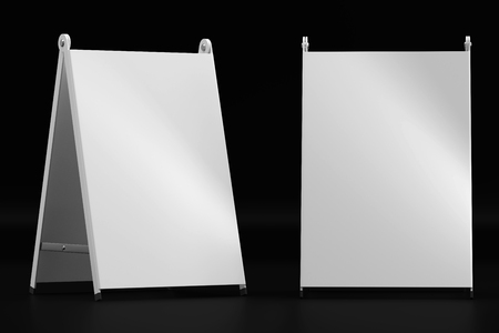 3d illustration render of a white information sign on a black background. Front view.