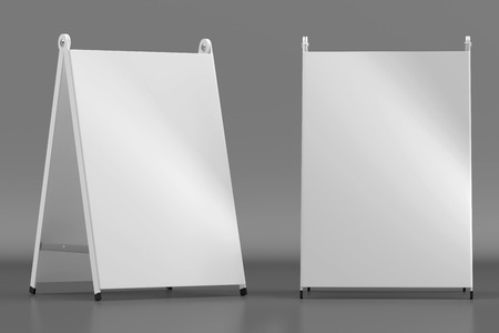 3d illustration render of a white information sign on a dark background. Front view. Stock Photo