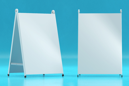 3d illustration render of a white information sign on a blue background. Front view. Stock Photo