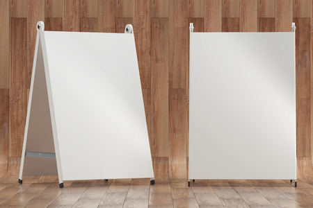 3d illustration render of a white information sign on a wooden background. Front view. Stock Photo
