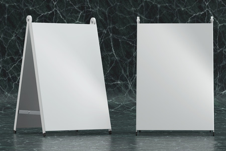 3d illustration render of a white information sign on a marble stone background. Front view.